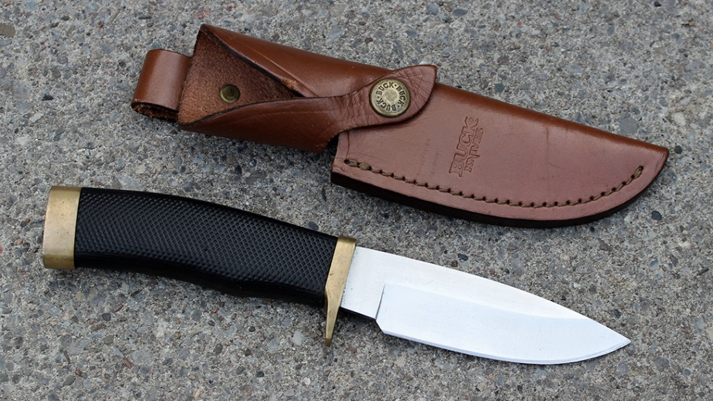Rubber Handled Buck Vanguard with Leather Sheath