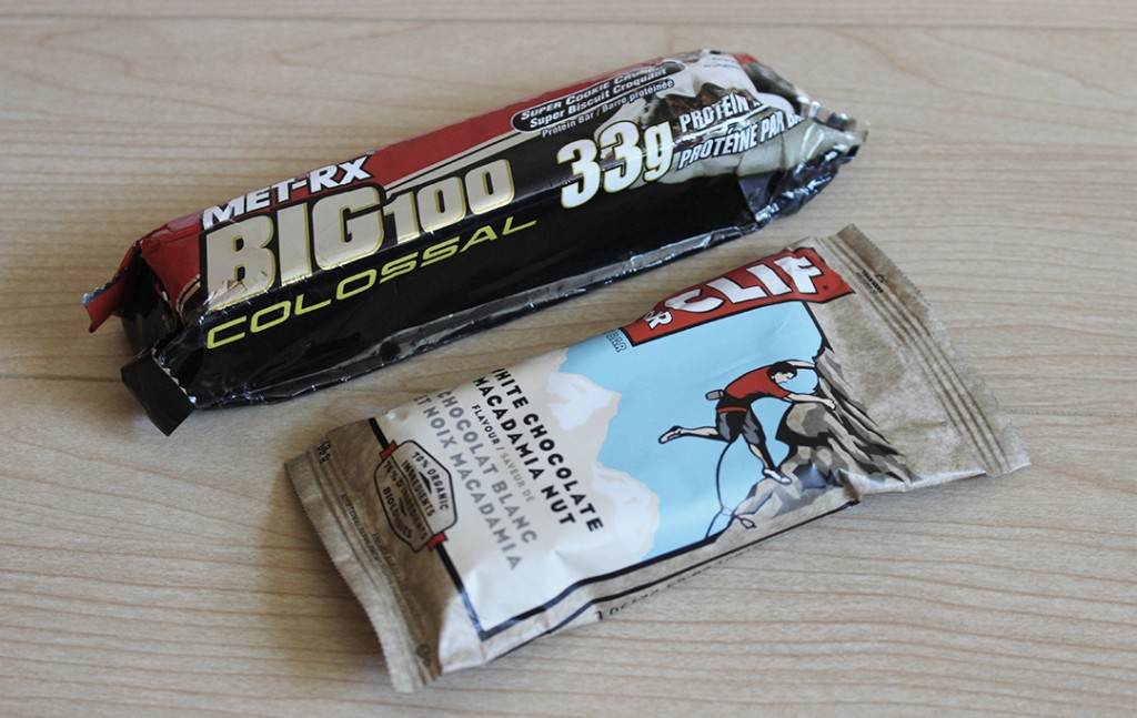 Met-RX Big 100 33g Protein Bar and Clif Bar