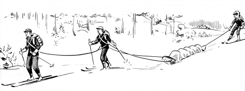 Boy Scout Image Of Toboggan Sled Use
