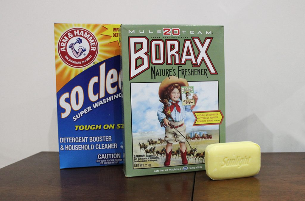 Dry Detergent Ingredients - Arm and Hammer Washing Soda Mule 20 Borax Sunlight Bar Soap