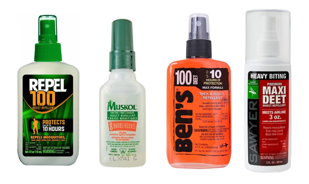 Assorted bottles of DEET spray