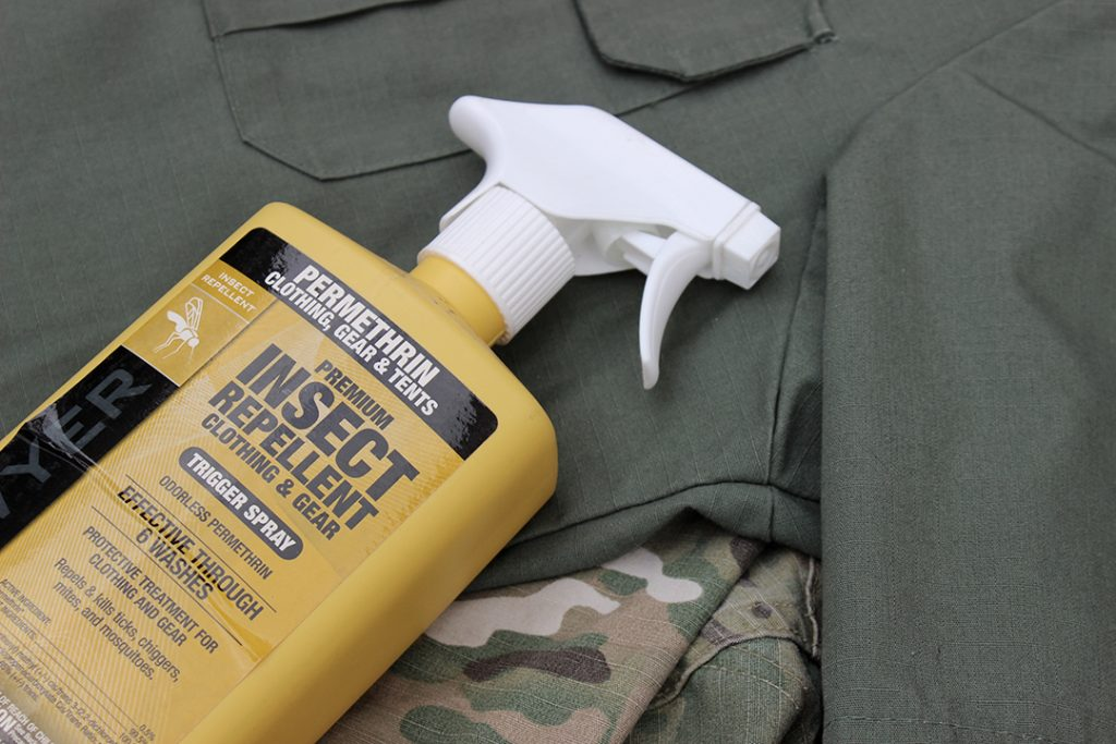 Permetherin spray bottle and outdoor clothing